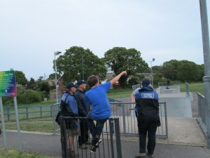 Team chatting to youngsters at one of the local skate parks.