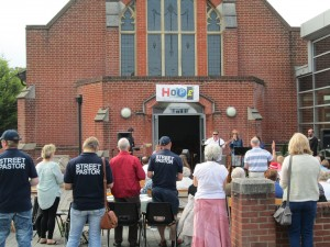 Street Pastors enjoying an open air service as part of the Hope 14 events.
